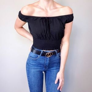 3/$30 Harlow Black Shirred Off-The-Shoulder Crop